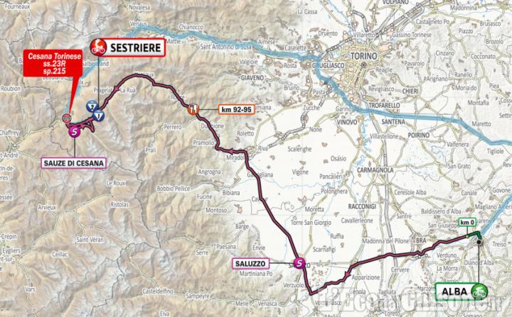 Giro d'Italia, gli orari dei tre passaggi a Sestriere sabato 24 e le chiusure delle strade