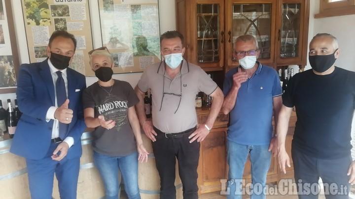 Il presidente della Regione Piemonte Alberto Cirio in visita a Pomaretto