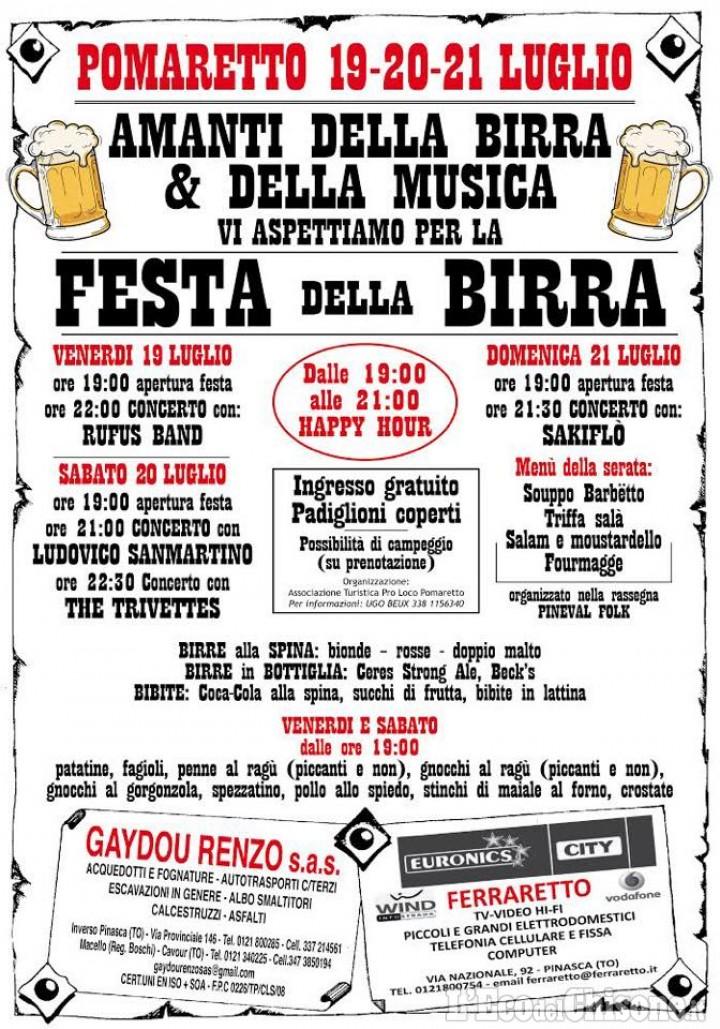 Pomaretto: prosegue la Festa della birra, domani sera parte il Pineval Folk