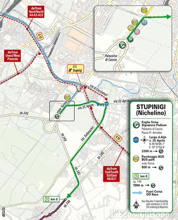 Giro d'Italia, domenica 9 tappa da Stupinigi a Novara: tabella di marcia e modifiche alla viabilità