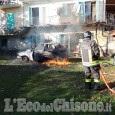 Auto in fiamme a Bricherasio