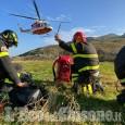 Crissolo: mucca ferita in un alpeggio salvata dai Vigili del fuoco