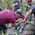 Garzigliana: liberato dai Vigili del fuoco il cane incastrato tra le pietre