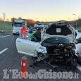 Piscina: auto contro guard rail sulla Torino-Pinerolo, tre feriti