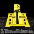 Pinerolo: la Torre del Municipio si illumina di giallo con il volto di Giulio Regeni