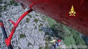 Pinasca: smarrito a Serremarchetto, escursionista recuperato dall'elicottero dei Vigili del fuoco