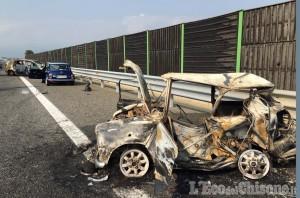 Piscina: Mini in fiamme sulla Torino-Pinerolo, distrutta una famiglia di Orbassano