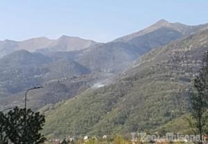 Pinasca: incendio boschivo in località Grangetta verso Serre Marchetto