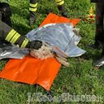 Cane salvato dai vigili del fuoco in un torrente a Garzigliana