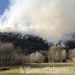 Trana/Sangano: fiamme in regione Moranda, vigili del fuoco in azione