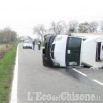 Orbassano: autocarro si ribalta in strada Candiolo, illeso il conducente