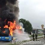 Roletto: autobus in fiamme sulla 589, video