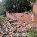 Pinerolo: crollata una parte della muratura del merlettificio Turk su via Moirano